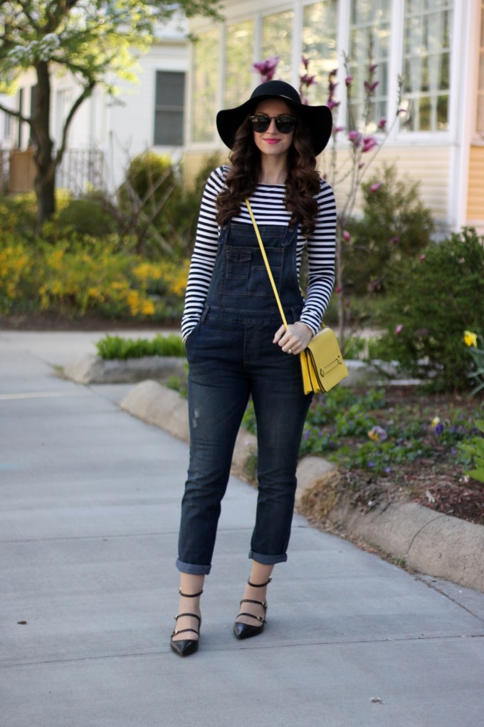 Free People Overalls, Floppy Hat and Stripes