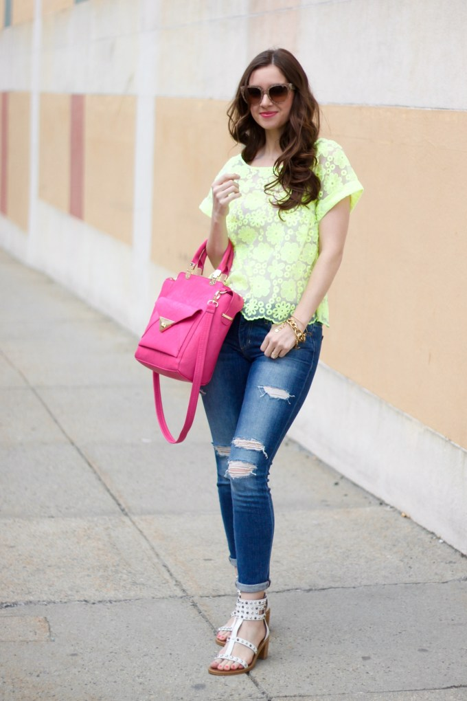 Anthropologie Lime Organza Lace top, Pink Crossbody Bag by LANY