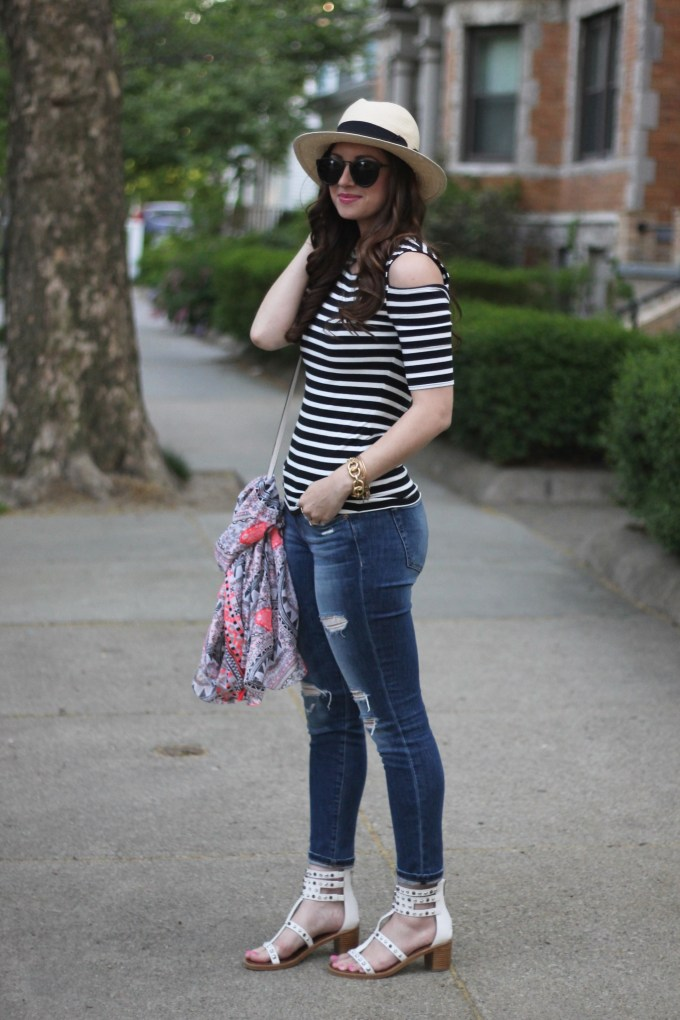 Panama Hat, Striped Cold SHoulder Top, Ripped Jeans & Studded Gladiator Sandals