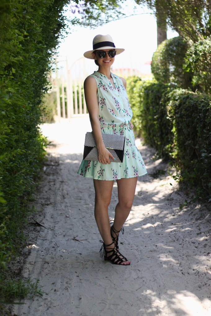 Aqua Floral Summer Beach Dress and Panama Hat