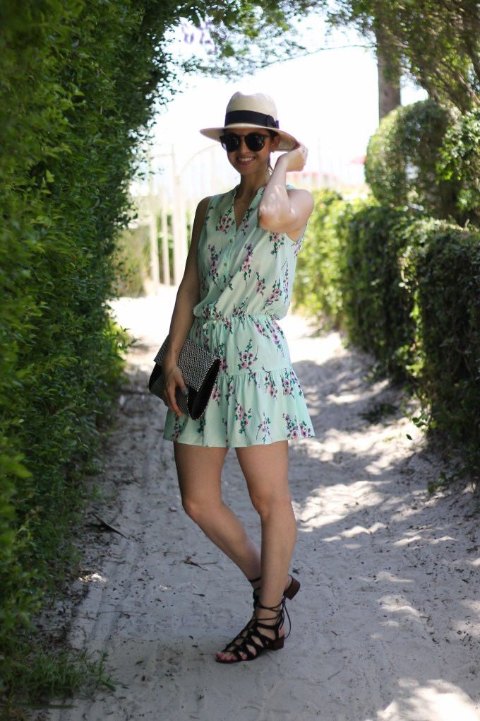 Summer Look: Panama Hat, Floral Dress, Lace-up Sandals