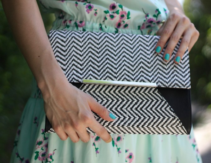 Express chevron black and white oversized clutch