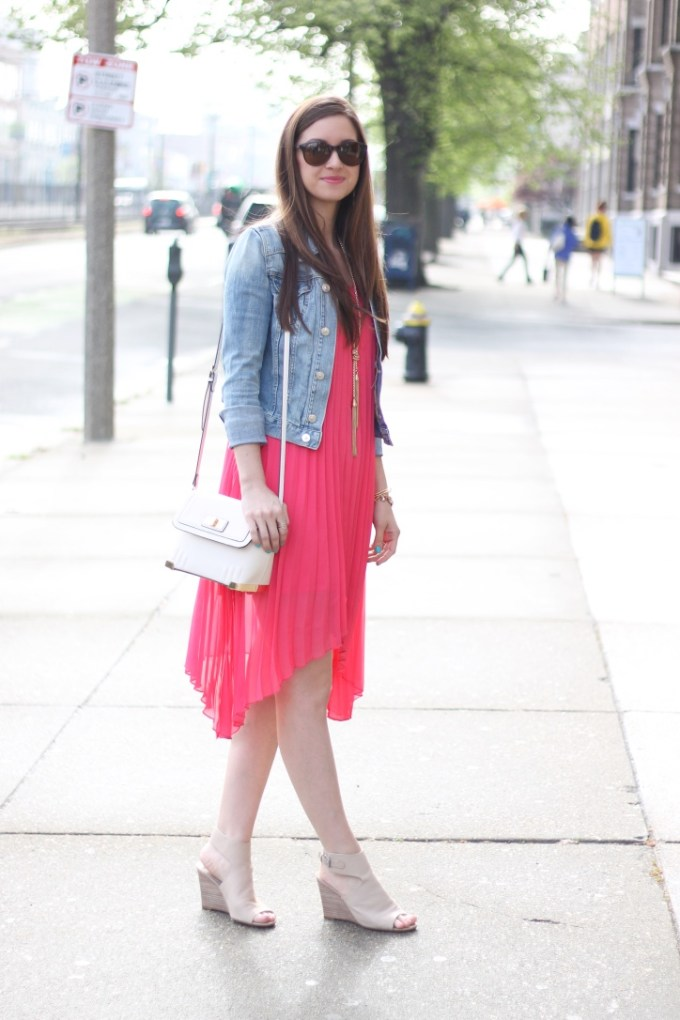 Glam Girl Coral High-Low Pleated Chiffon Dress