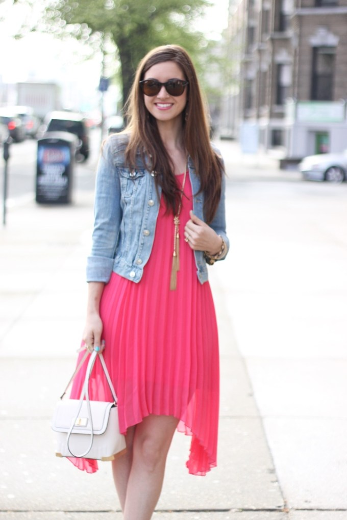 Jean Jacket and Coral Pink Dress