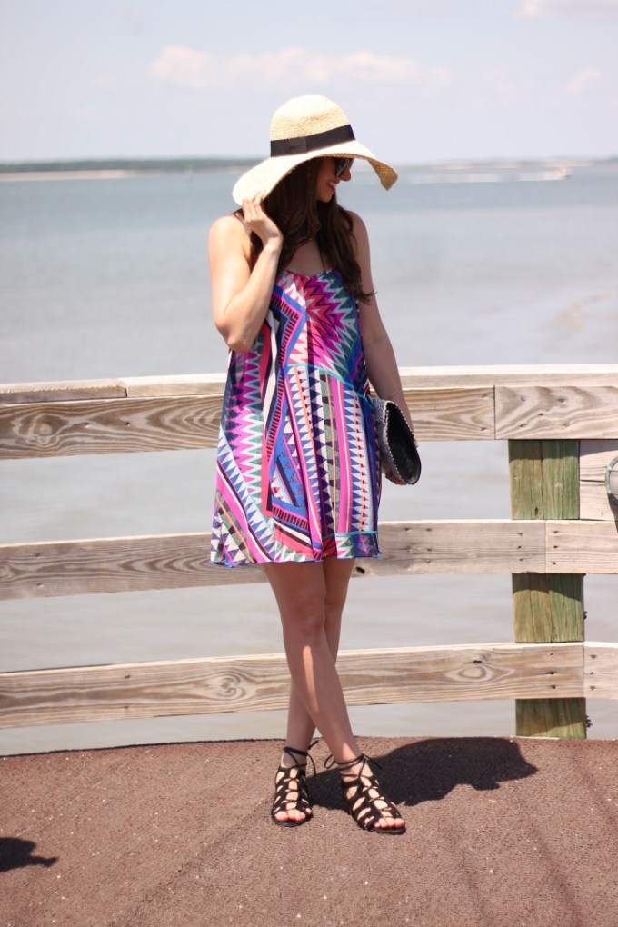 Express ZigZag Clutch and Multicolored Pink and Blue Patterned Dress