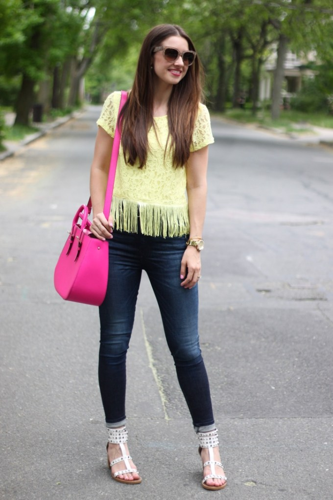 H&M Yellow Lace top with Fringe, high-waisted Rag n Bone Jeans and White Gladiator Sandals