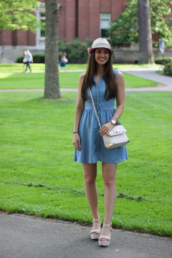 Denim Chambray and Pin/White Straw Patterned Fedora with Platform sandals