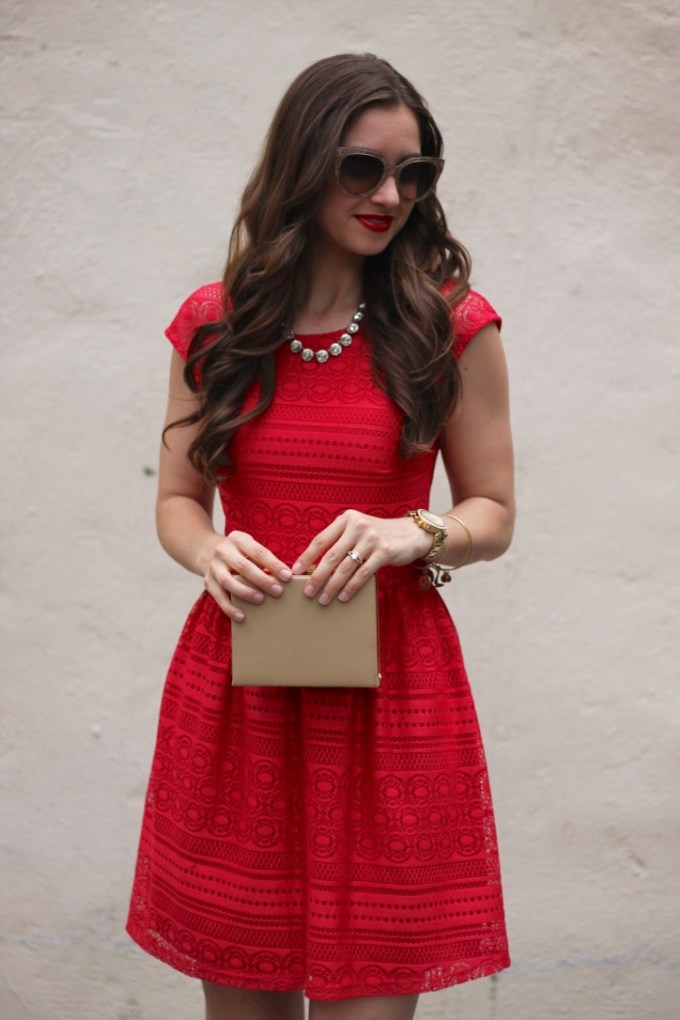Little Red Dress and Gold Box Clutch