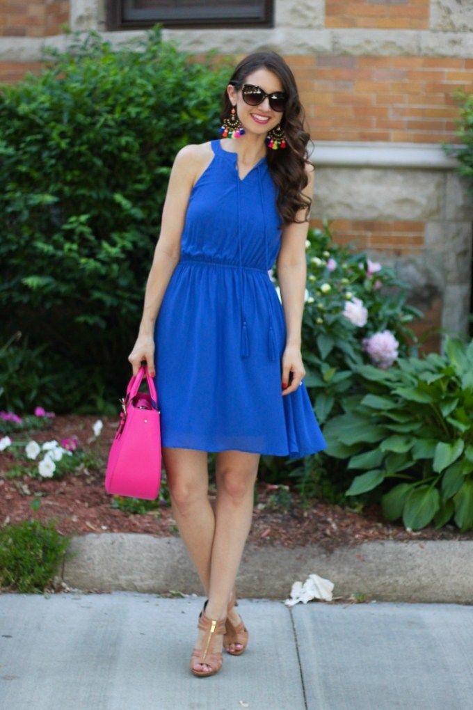 Cobalt Blue Dress with Rainbow Tassel Earrings and Pink Purse