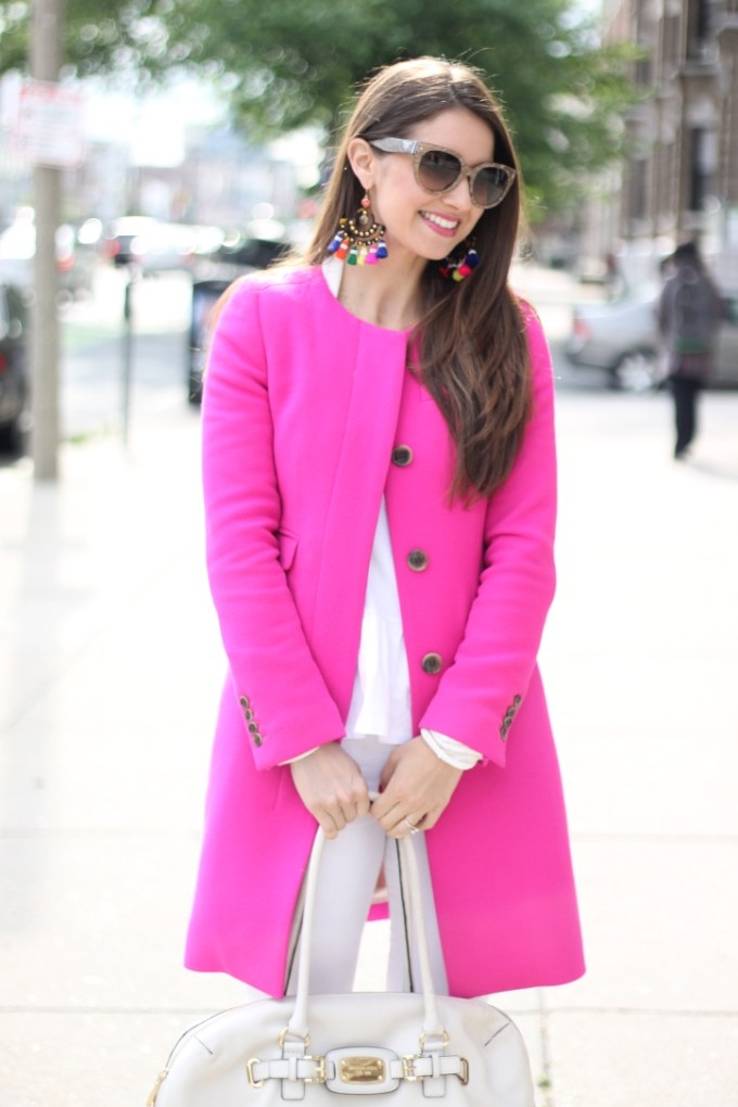 Pink Coat and All White Outfit