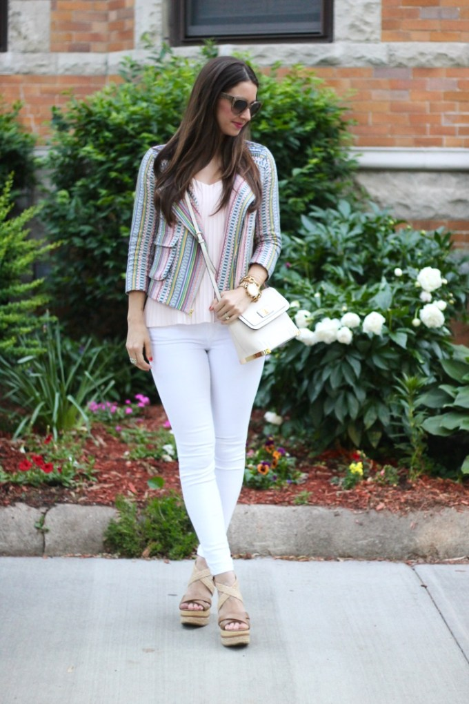 Baby Pink Pleated Blouse, Striped Pastel Blazer & Platform Wedges