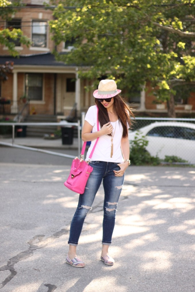 Casual in colorful Toms, & a  pink fedora and bag