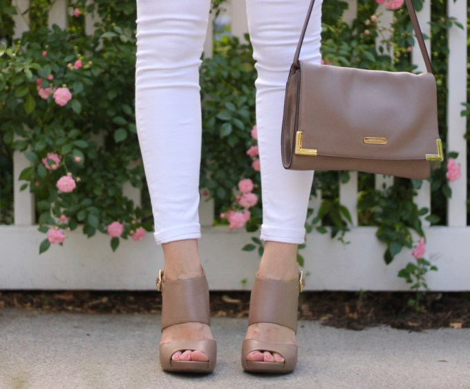 Taupe Michael Kors bag and Jessica Simpson Heels