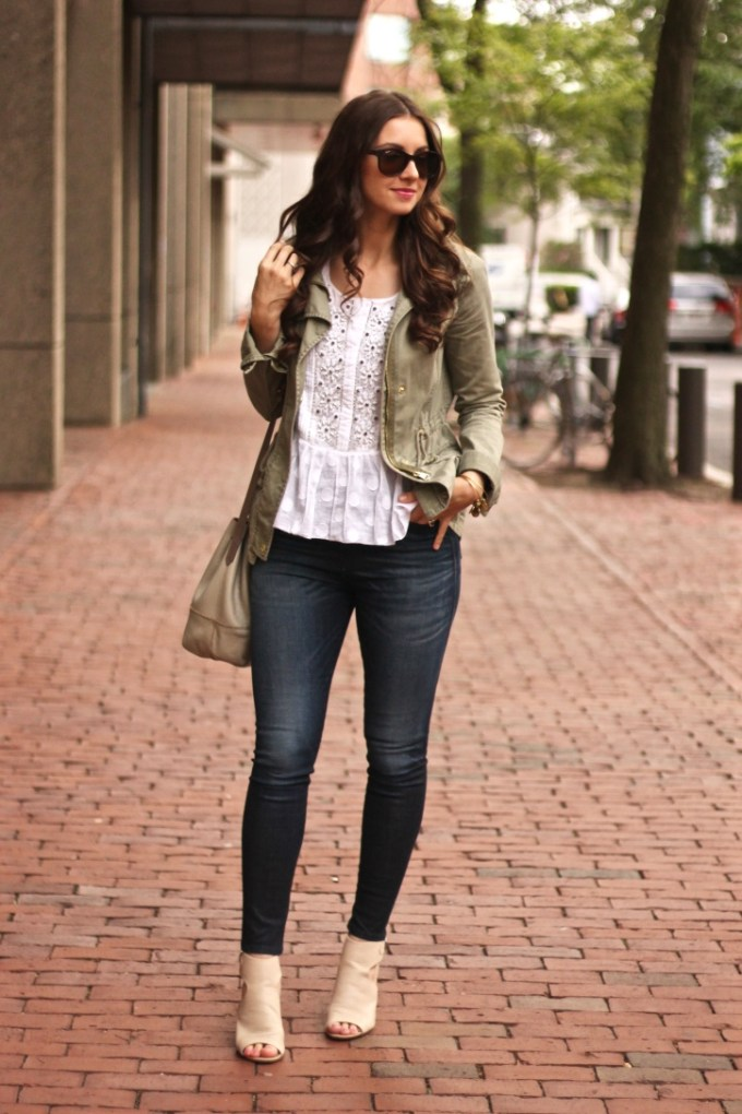 Army Anorak Coat in Olive and White Embellished Bohemian Blouse