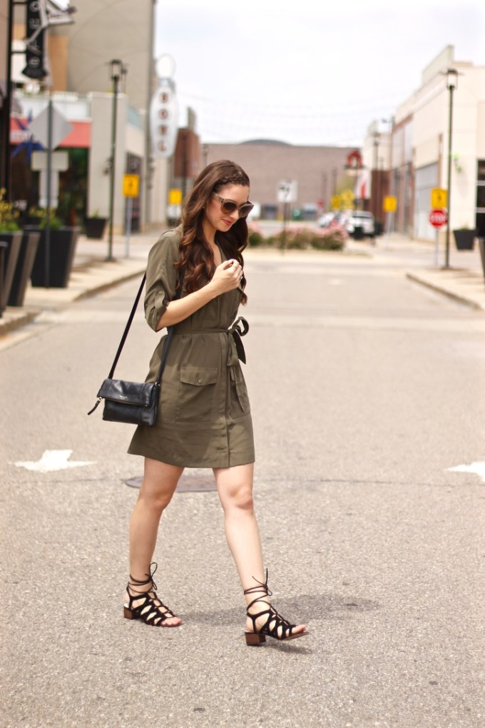 Express Olive Silk Shirtdress and Sam Edelman Lace-up Sandals