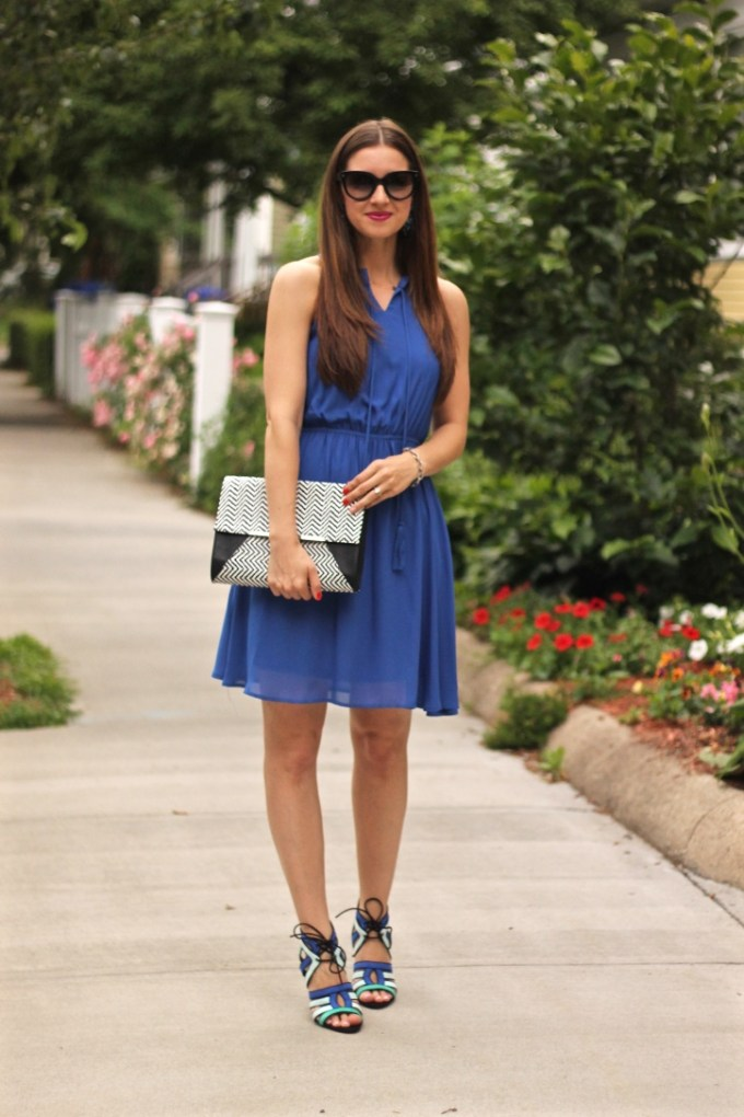 Blue Date Night Dress and Tricolored Heels  with Black and White Zigzag Clutch