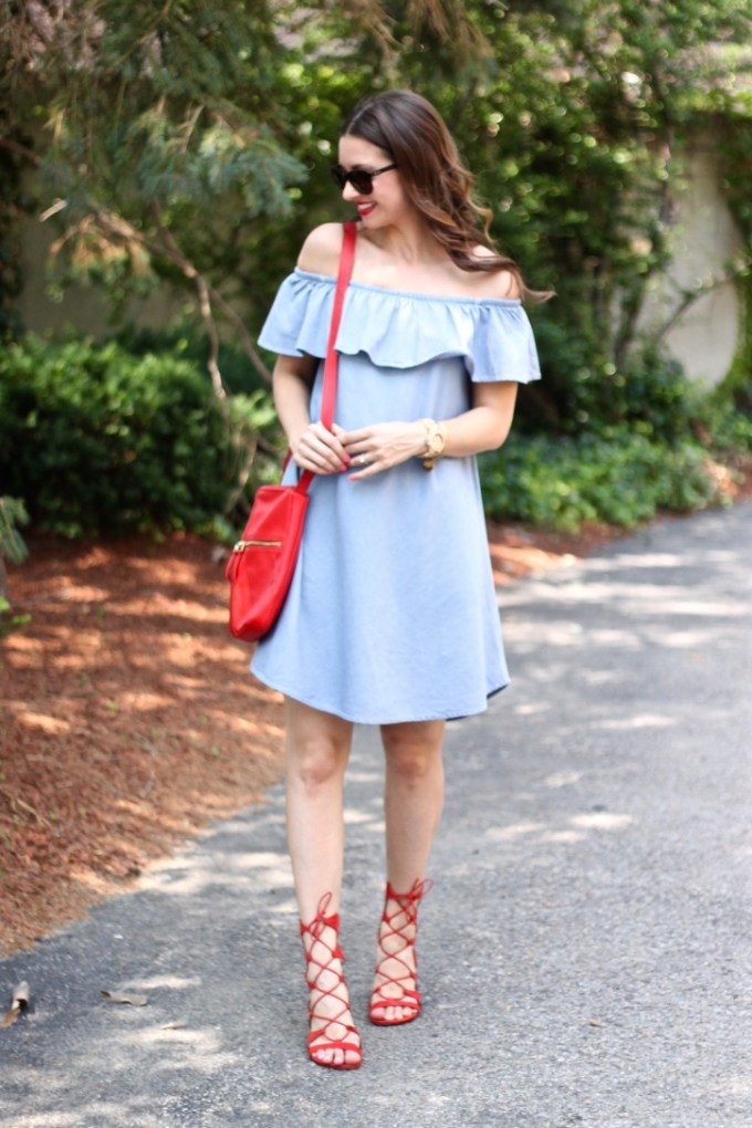 Express ruffle chambray dress and schultz lace-up red gladiator sandals