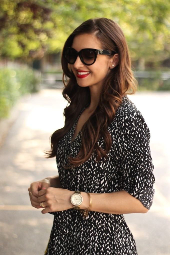 Black and White Heart Print dress with yellow accessories