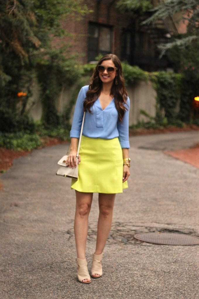 Baby Blue Deep-V Blouse and J.Crew Bright Lime Flared Skirt