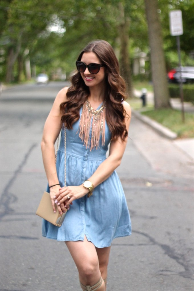 Chambray Dress with Suede Fringe Necklace and Gold Gladiator Sandals