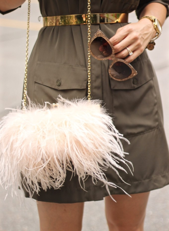 Gold Metal Waist Belt and Blush Fluffy Feathered Pag