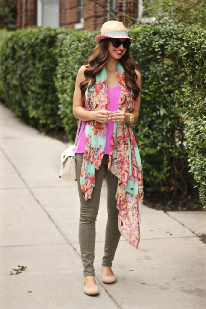 Magenta Top, Olice Green Pants, Straw Fedora and Floral Scarf