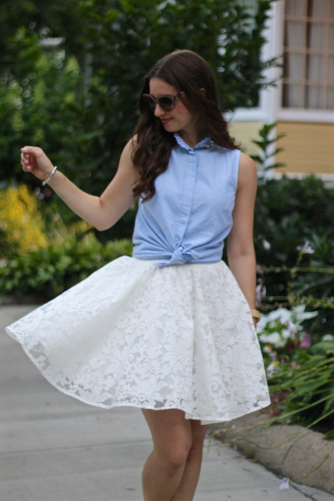 White Organza Embroidered Skirt and Embellished Chambray Tank with Jeweled Heels