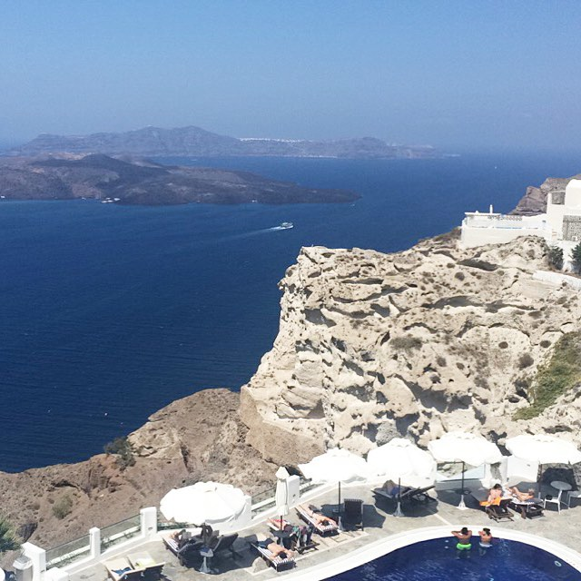 Made it to Santorini and the view from the hotel is amazing We're in love! #neverleaving #honeymoon #laMPtravels #crawfordgetsmurrayed #santorini #igersgreece #greece #igerssantorini