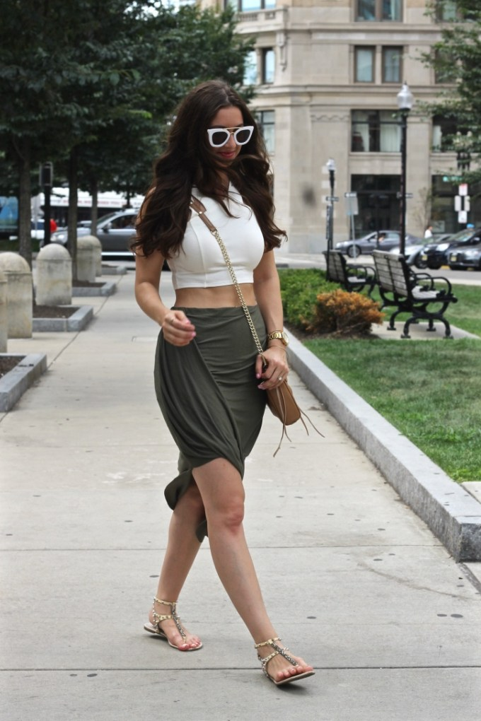 New Look Cream Crop Top and Olive Green Asymmetrical Lop Front Skirt