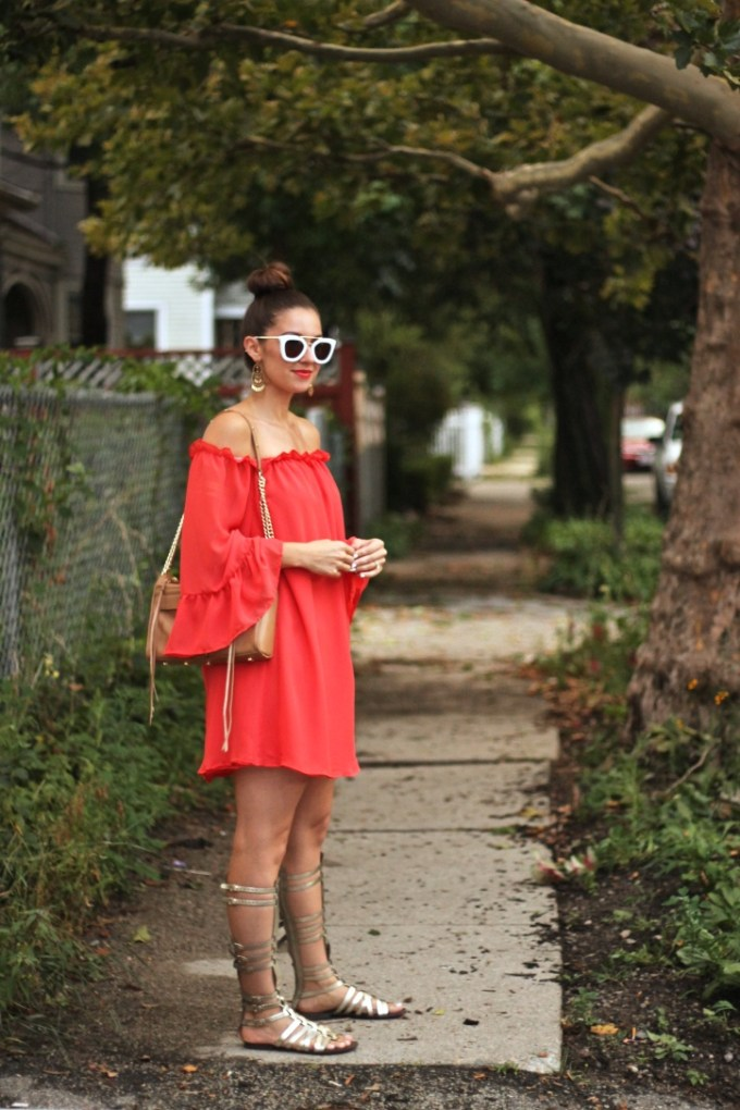 SheIn Red Ruffled Off the Shoulder Dress with Steve Madden Sparta Gold Gladiator Sandals
