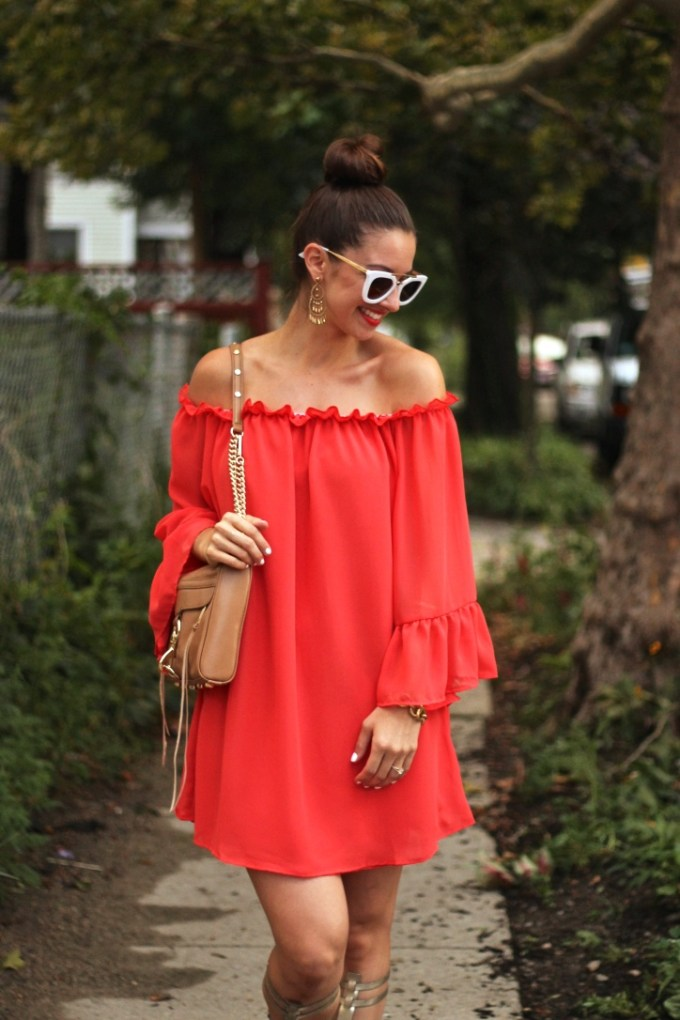 SheIn Red Ruffled Off the Shoulder Dress with Tan Rebecca Minkoff MAC Bag