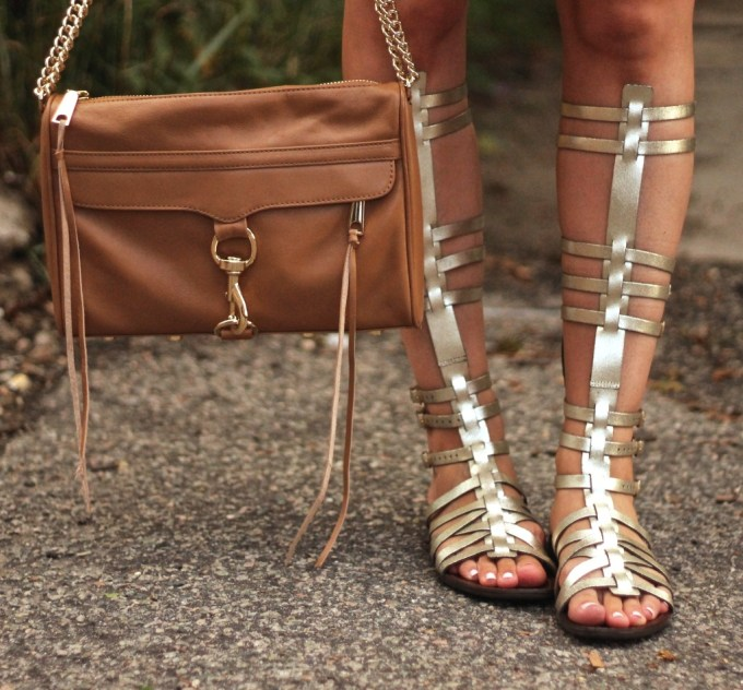 Rebecca Minkoff MAC Bag in Tan and Gold Steve Madden Sparta Gladiator Sandals