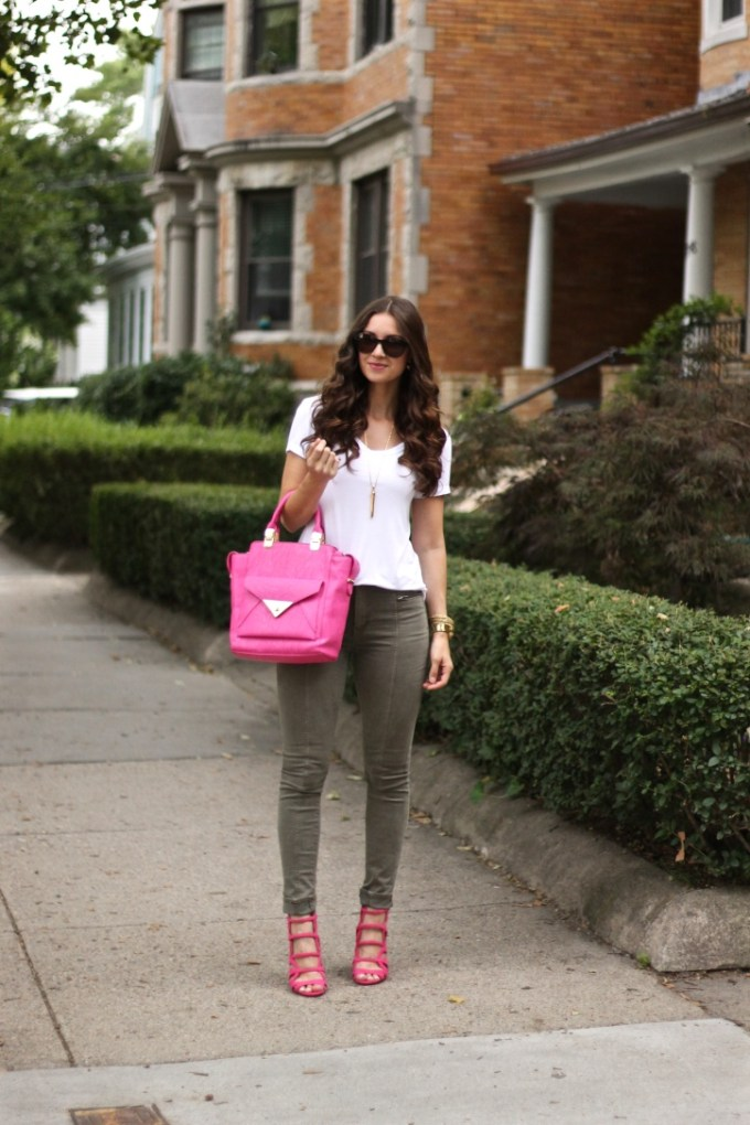Pink Accessories and Olive Green Jeans