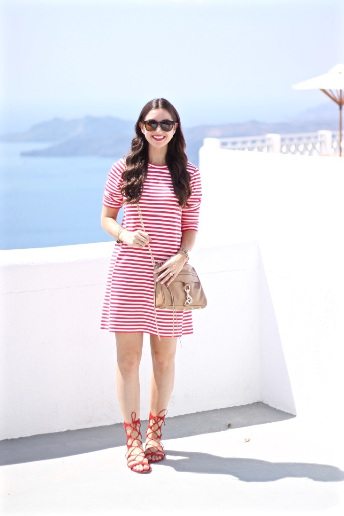 JCrew Factory Red Gondola Striped Ponte Dress with Scarlet Schutz Lace-up Sandals