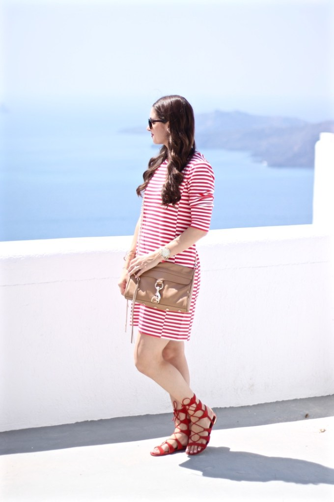 JCrew Factory Red Gondola Striped Ponte Dress with Scarlet Schutz Lace-up Sandals and Tan Rebecca Minkoff MAC