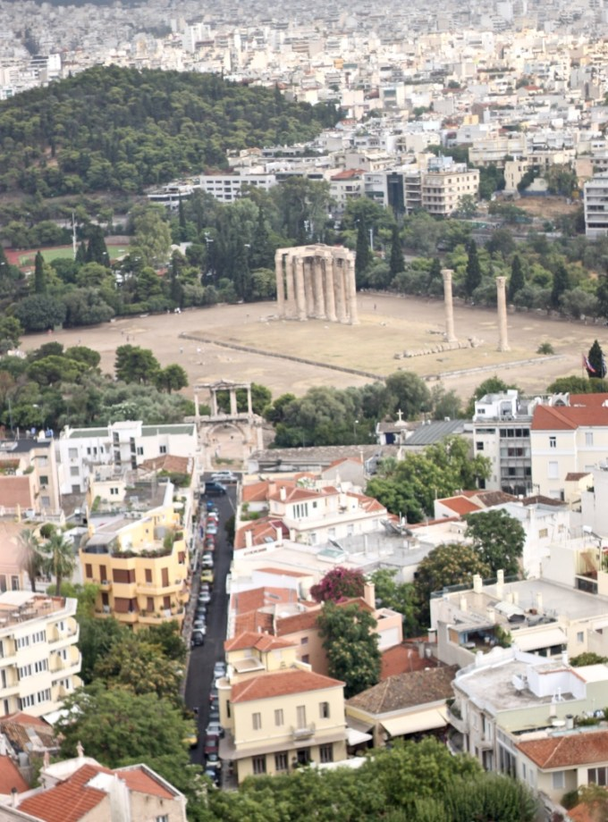 View of Temple of Zeus from atop Acropolis