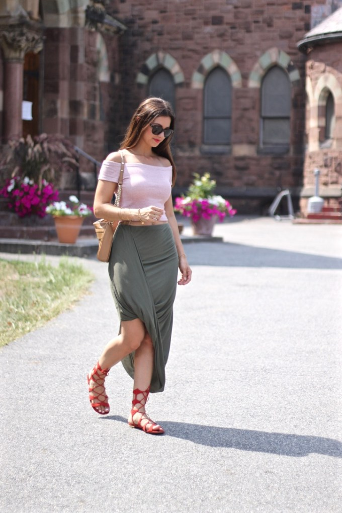 Express Loop Front Asymmetrical Olive Skirt and Zara Striped Red/White Crop Top and Scarlet Lina Lace-up Sandals by Schutz