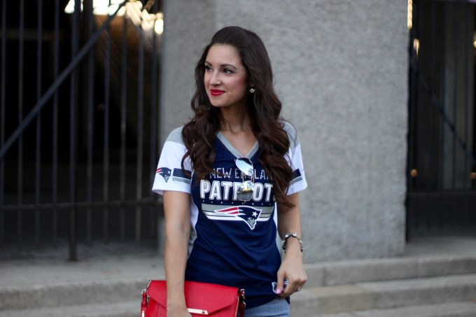 Majestic Draft Me NFL Fashion Jersey Top and JBrand Martini Flare Grey Jeans