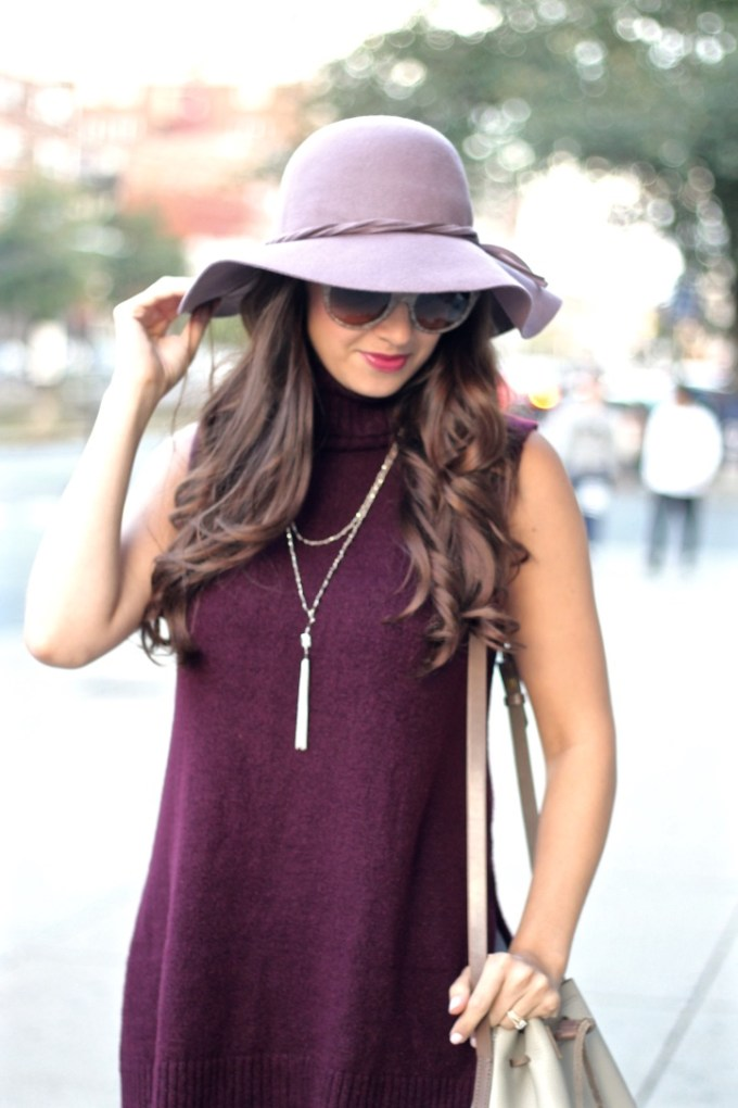 Primark Burgundy Sleeveless Roll Neck Sweater; BCBG Lavender Floppy Wool Hat