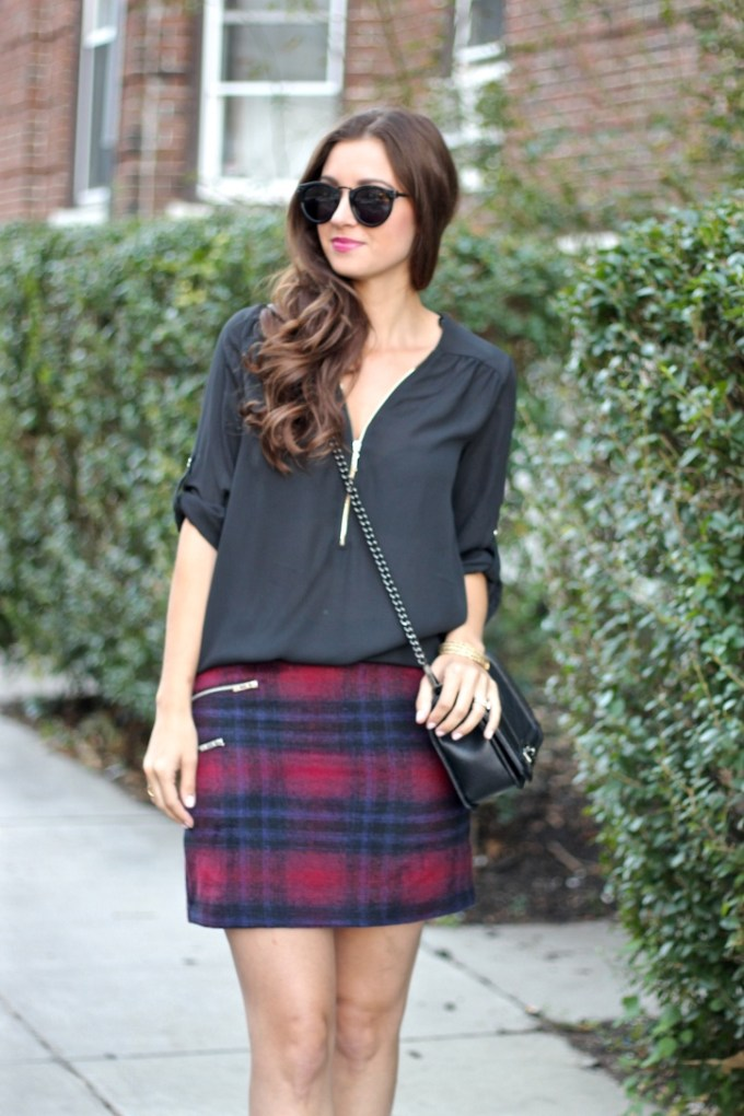 Navy and Red Plaid Skirt; Zip Front Black Blouse; Rebecca Minkoff Quilted chevron Bag