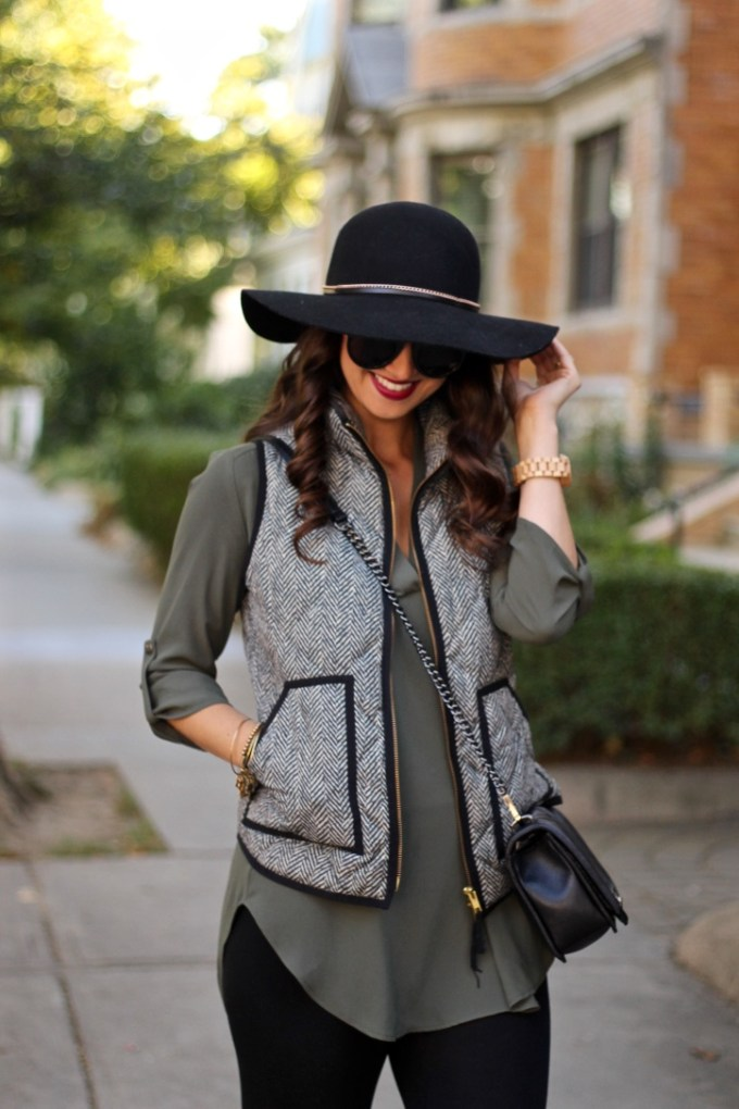 j Crew Factory Printed Quilted Puffer Vest in Herringbone, Lush New Olive Perfect Roll tab Sleeve Tunic, Black Felt Floppy Hat