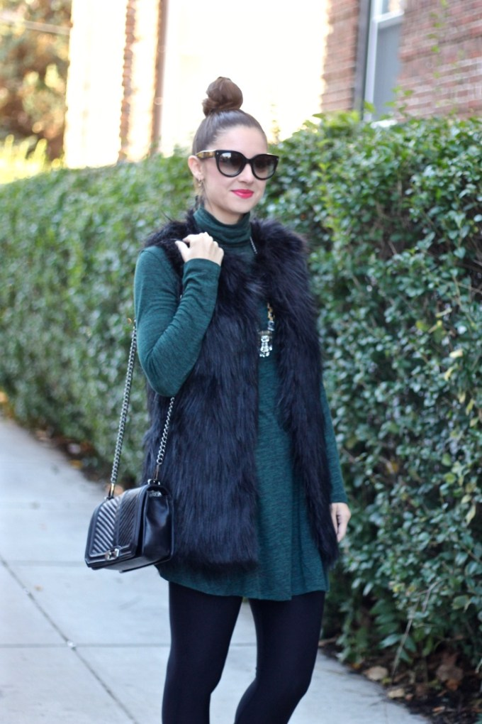 Black Faux Fur Vest, Green Swing Dress, Rebecca Minkoff Black Quilted Crossbody