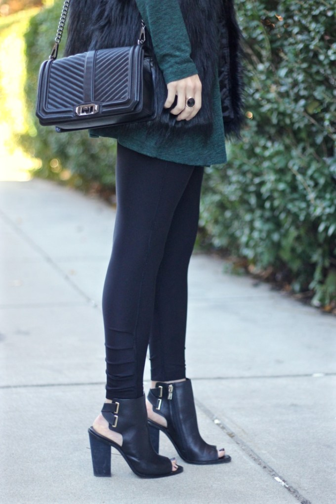 Black Faux Fur Vest, Green Swing Dress, Black Peep-toe Booties
