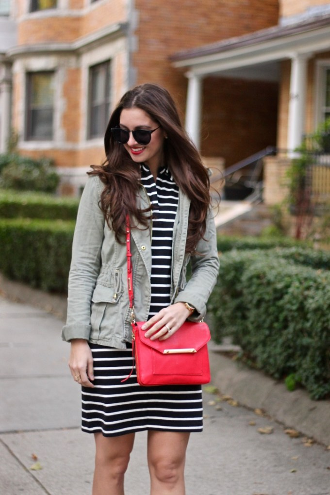 Black and White Cotton Striped Shift, Green Army Jackets, Red Crossbody