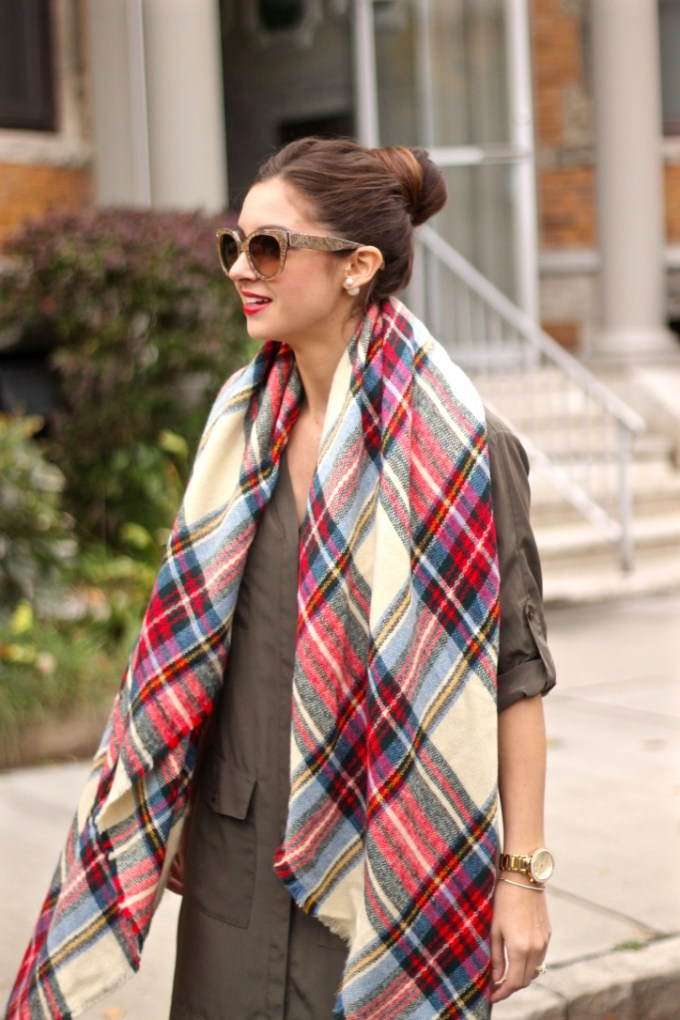 Green military Shirt Dress, Plaid Blanket Scarf