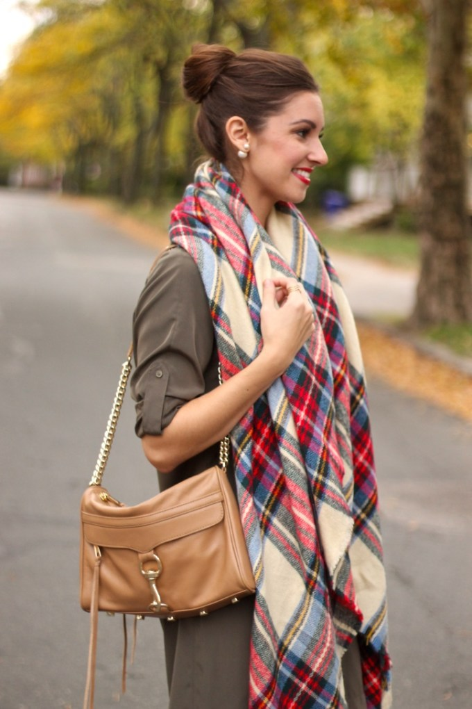 Green military Shirt Dress, Plaid Blanket Scarf, Tan Rebecca Minkoff MAC Bag