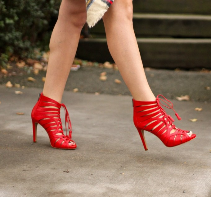 Red Lace-up Strappy Vince Camuto Narrital Heels