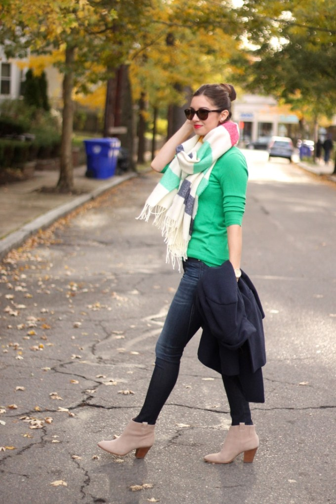 Multi-striped blanket scarf, green cardigan sweater, navy blue car coat, beige suede booties