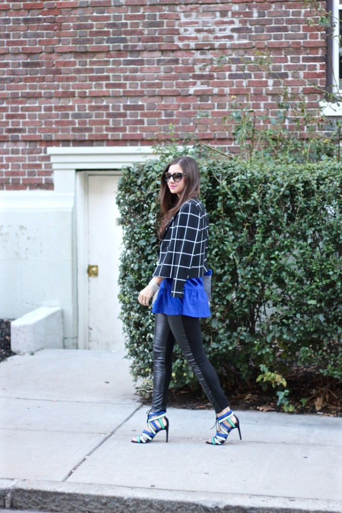 Window Pane Blazer, RoyalBlue Flowy Blouse, Black Leather Panel Pants, Tri-colored Strappy Blue Heels by Zara