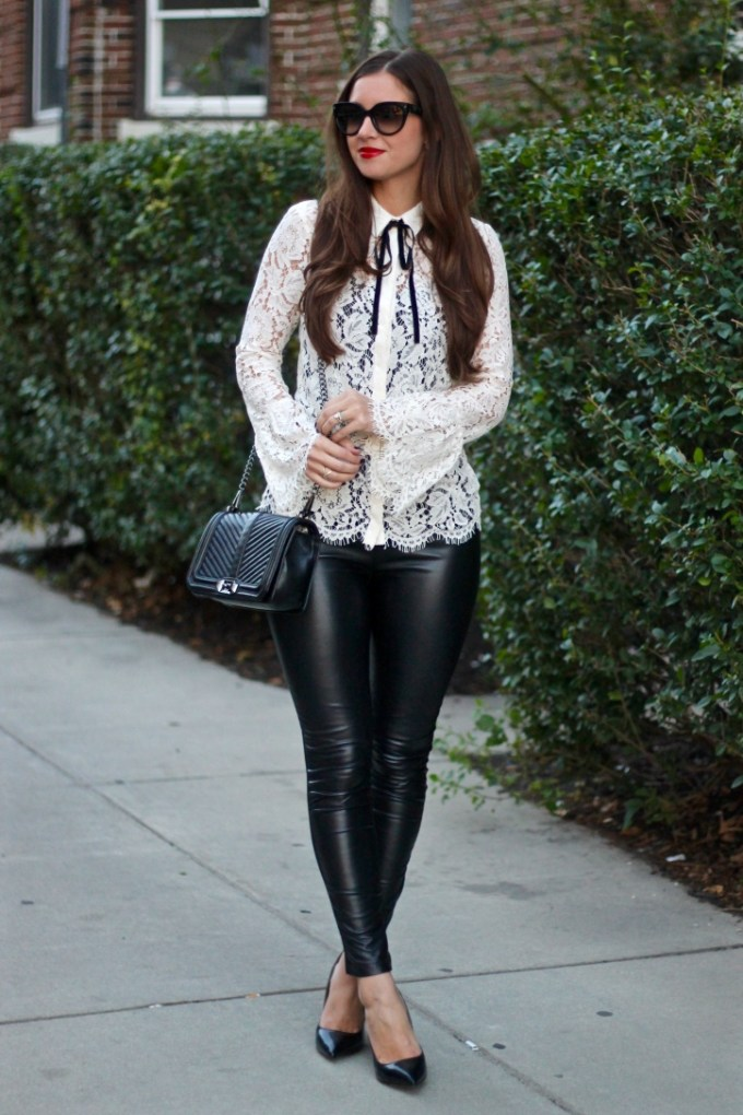 Lace Bell-Sleeve Blouse; Black Leather Panel Leggings